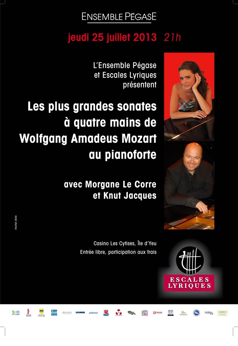 Concert Mozart à 4 mains avec Knut Jacques et Morgane Le Corre au Festival de l'Ile d'Yeu le 25/07