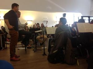 Lionel Hoche et Philippe Hui présentent le projet de Flashville aux musiciens de l'Orchestre Atelier OstinatO