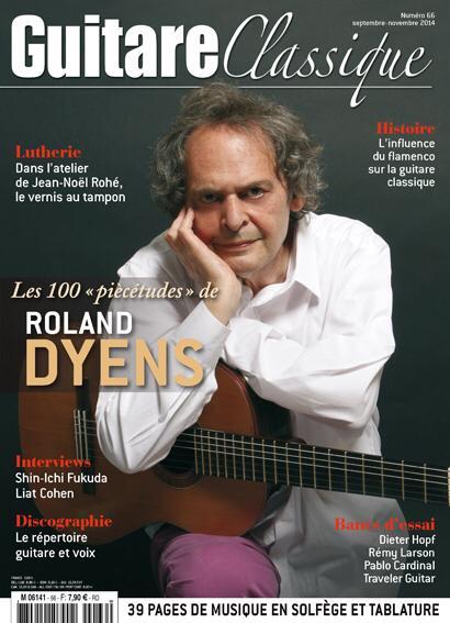 Le guitariste Roland DYENS, parrain de la Locomotive des Arts, en page de couv de Guitare classique !
