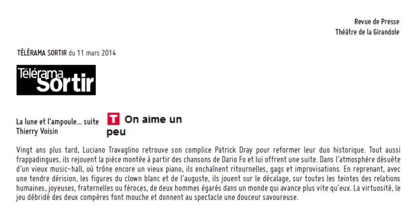 Télérama Sortir - Lune - 11 mars 2014