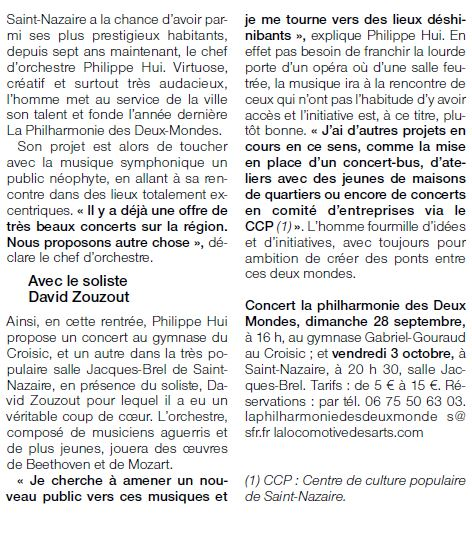 Ouest France 230914 Article