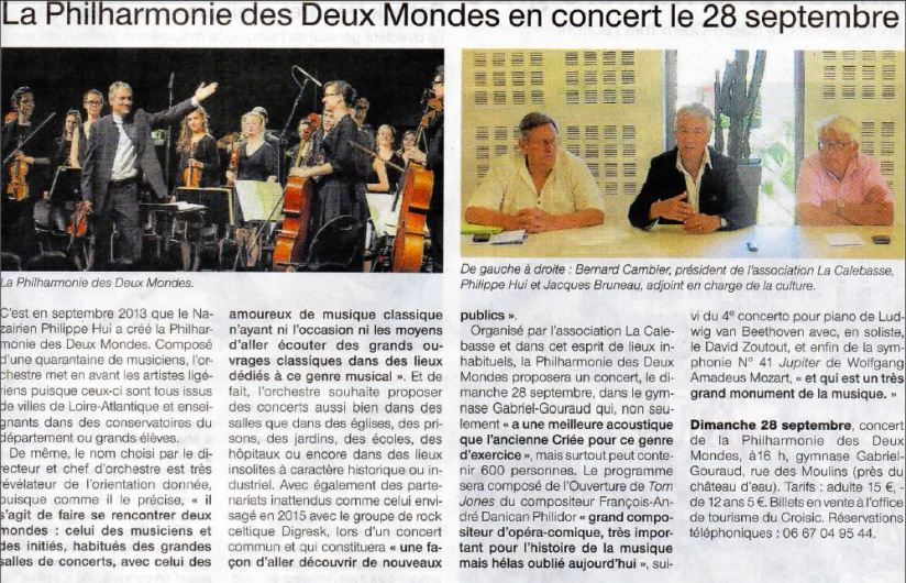 article Ouest France Croisic 25 09 14