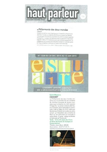 Haut-parleur / Estuaire - Janvier 2015